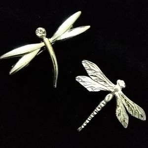 2 silver tone dragonfly pins/brooches
